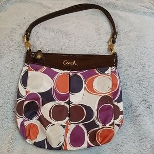 Colorful Coach Satin w/ Patent Brown Accents